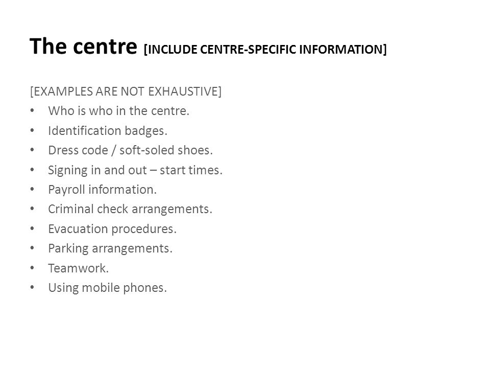The centre [INCLUDE CENTRE-SPECIFIC INFORMATION]